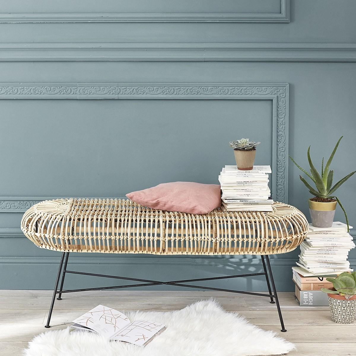 banc en rotin et m tal bois dessus bois dessous. Black Bedroom Furniture Sets. Home Design Ideas