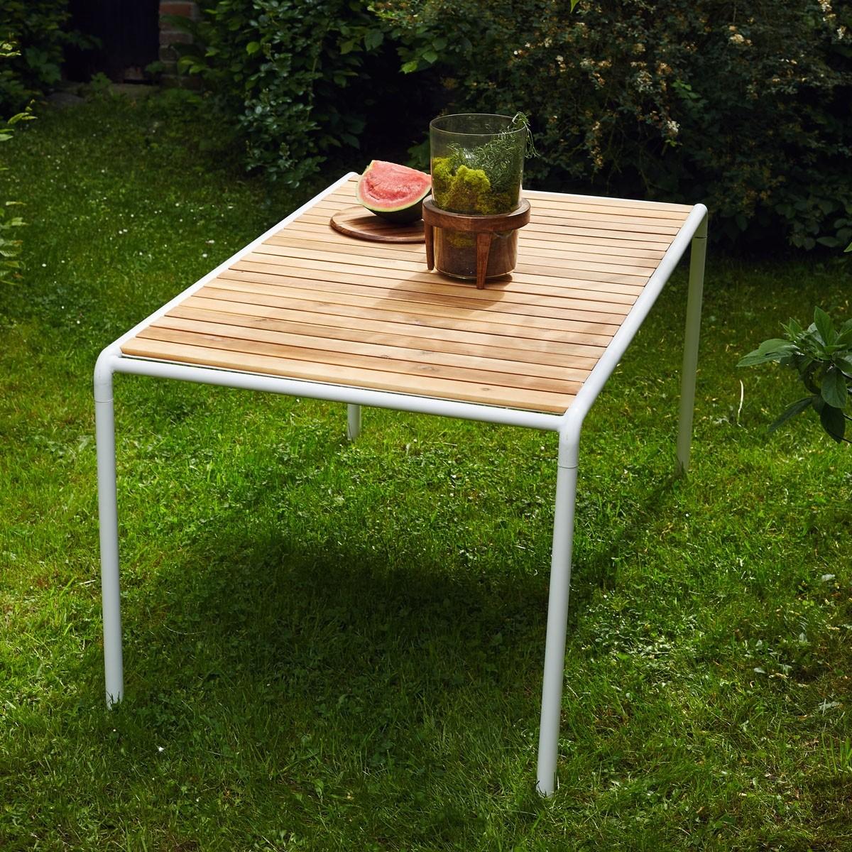Table en bois d 39 acacia fsc et m tal 150 bois dessus bois for Bois acacia exterieur