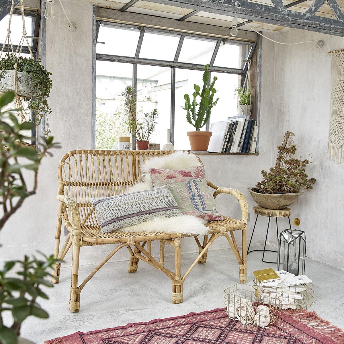 Canapé en rotin vintage BOHO | Bois Dessus Bois Dessous