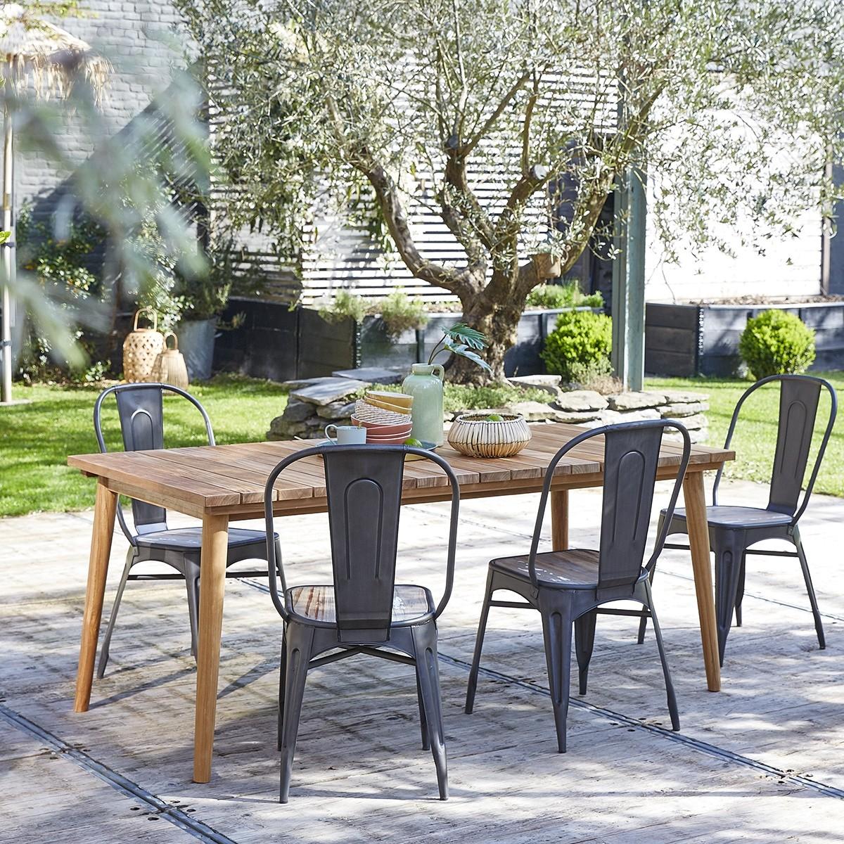 Table de jardin rectangulaire en bois de teck 6/8 places MIDLAND ...