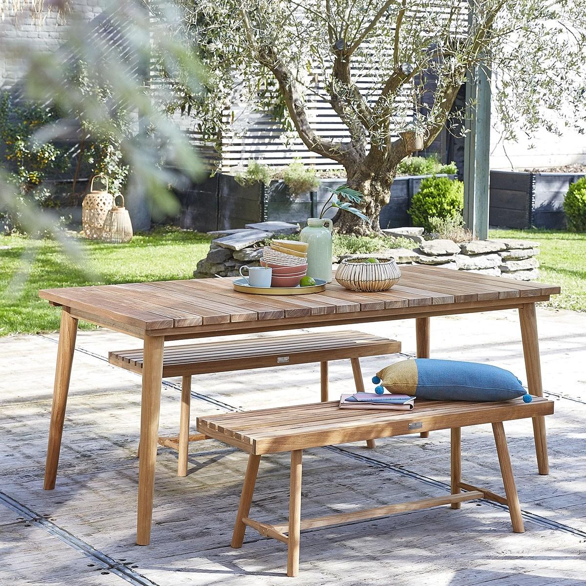 Table de jardin rectangulaire en teck 6/8 places MIDLAND ...