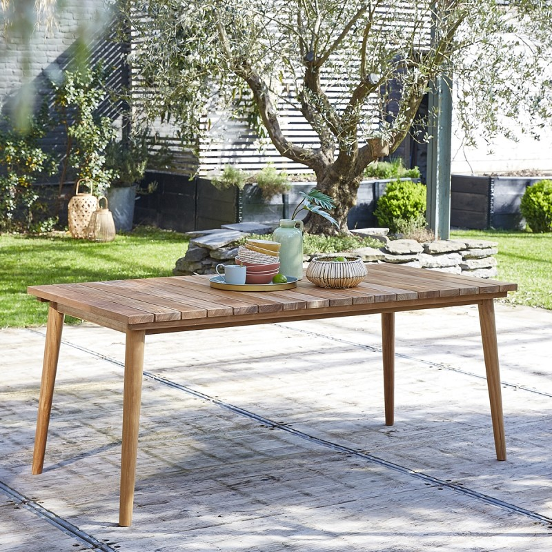 Table de jardin rectangulaire en teck 6/8 places MIDLAND