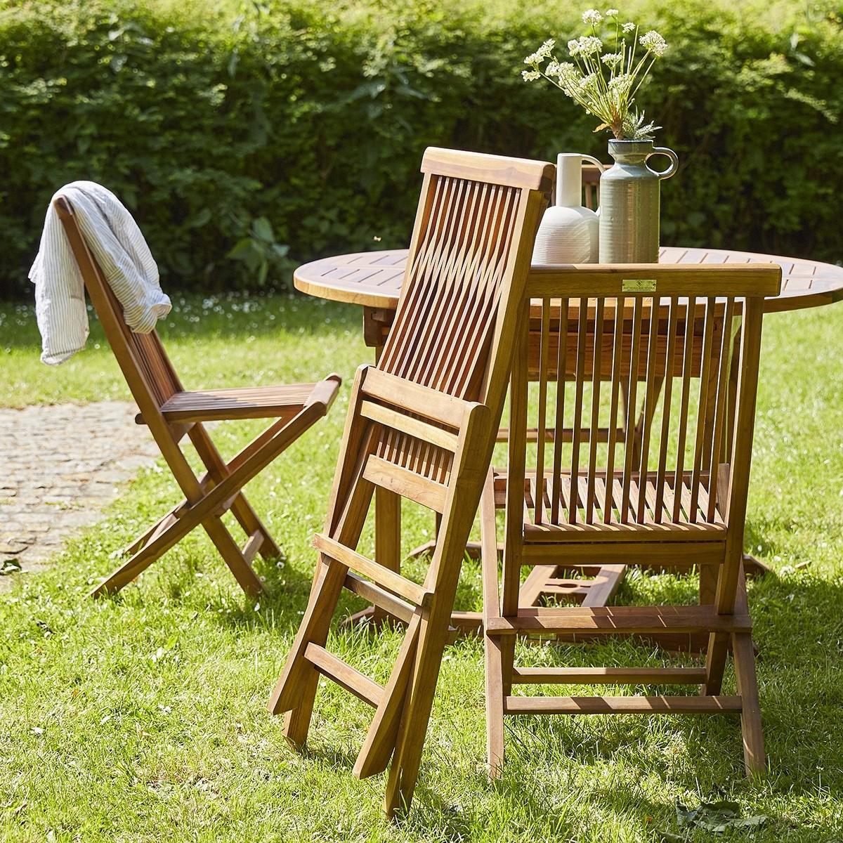Salon de jardin en bois de teck huil bali 6 8 places bois dessus bois dessous - Salon de jardin teck huile ...