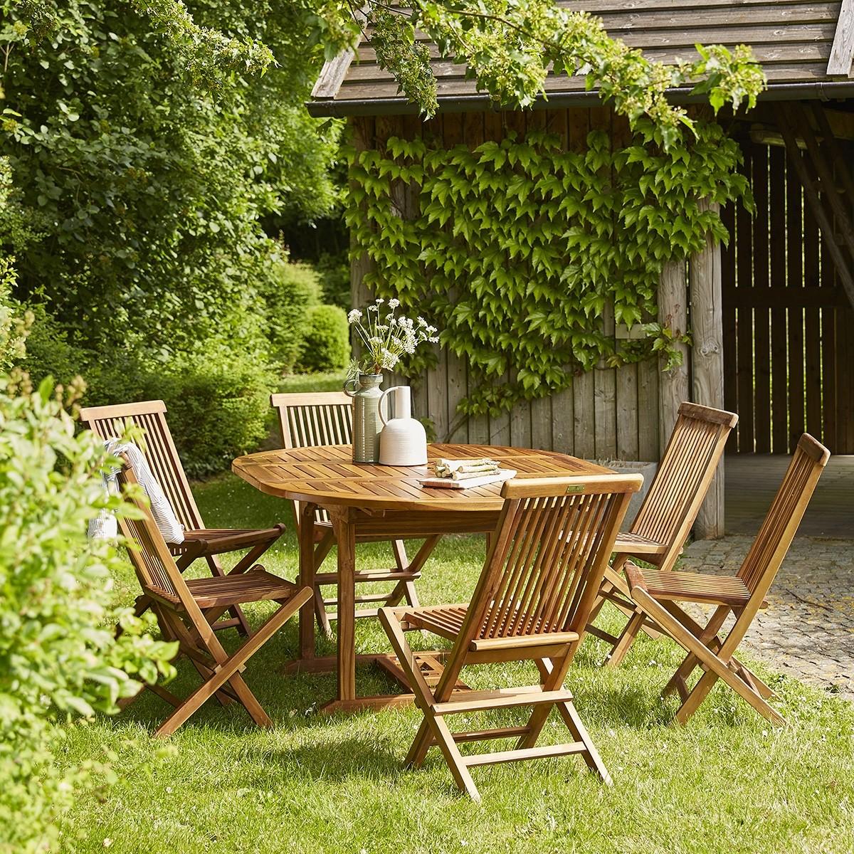Salon de jardin ovale en teck huilé 6/8 places BALI | Bois ...
