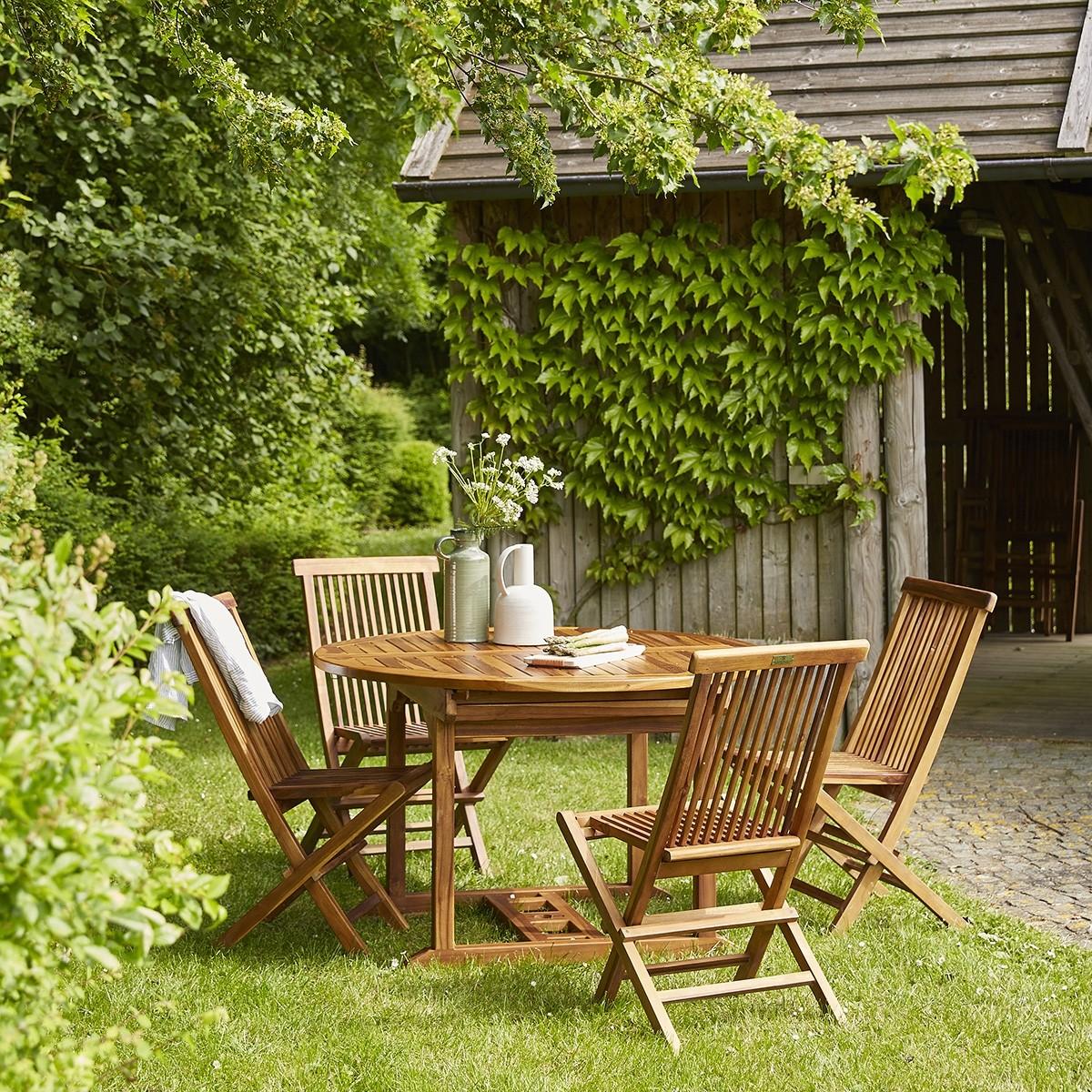 Salon de jardin ovale en bois de teck huilé 6/8 places BALI | Bois ...