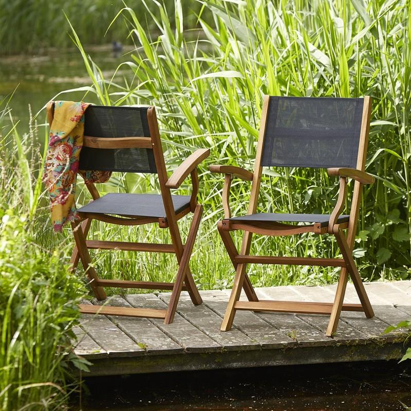 Lot de 2 fauteuils en bois d'acacia FSC et textilène noir