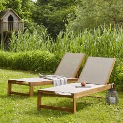Lot de 2 bains de soleil en bois d'acacia FSC et textilène gris