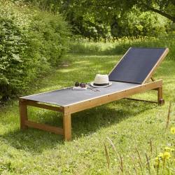 Bain de soleil en bois d'acacia FSC et textilène noir