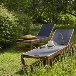 Lot de 2 bains de soleil en bois d'acacia FSC et textilène noir