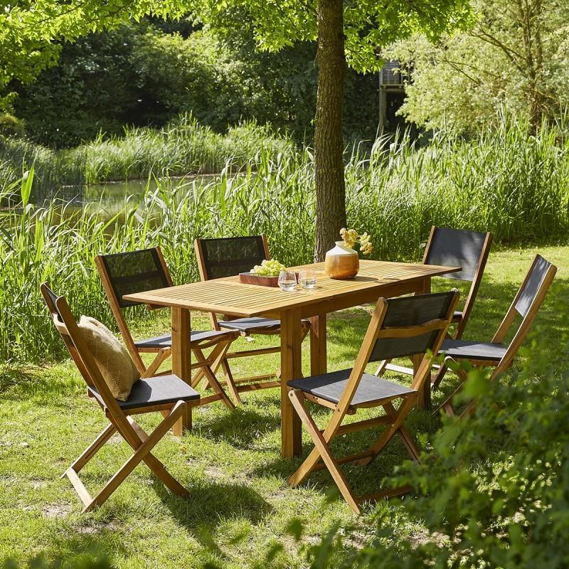 Salon de jardin en bois d\'acacia FSC noir rallonge 6/8 places HANOÏ