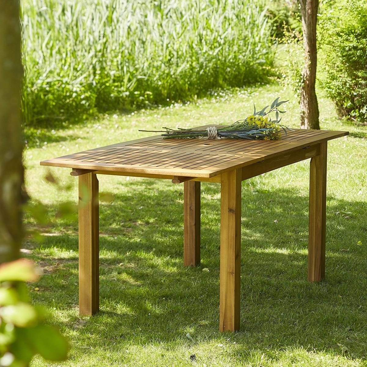 salon de jardin en bois d 39 acacia fsc noir rallonge 6 8. Black Bedroom Furniture Sets. Home Design Ideas