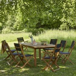 Salon de jardin en bois d'acacia FSC extensible 8/10 places