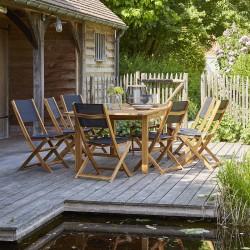 Salon de jardin en bois d\'acacia FSC noir rallonge 8/10 places HANOÏ