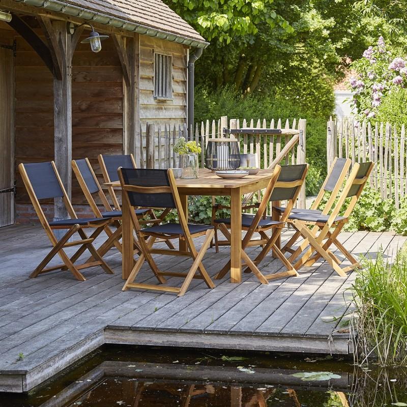 Salon de jardin en bois d\'acacia FSC noir rallonge 8/10 places HANOÏ ...