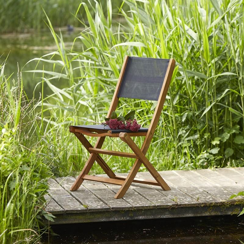 Chaise en bois d'acacia FSC et textilène noir