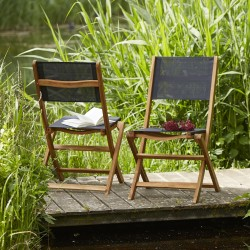 Lot de 2 chaises en bois d'acacia FSC et textilène noir