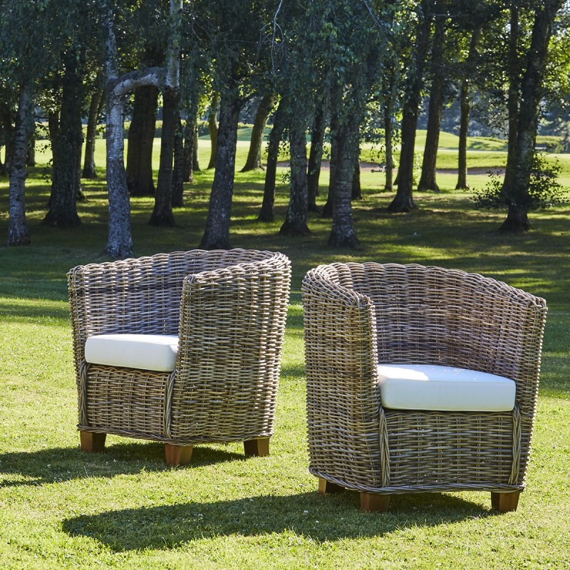 Lot de 2 fauteuils ronds en kubu naturel