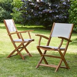 Lot de 2 fauteuils en bois d'acacia FSC et textilène gris