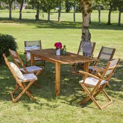 Salon de jardin en bois d\'acacia FSC gris rallonge 6/8 places HANOÏ