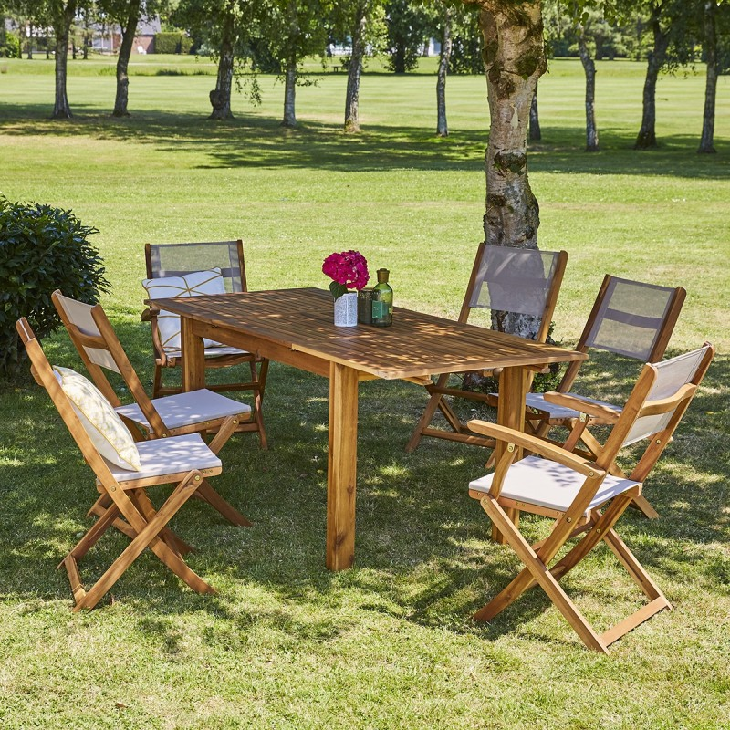 Salon de jardin en bois d'acacia FSC extensible 6/8 places