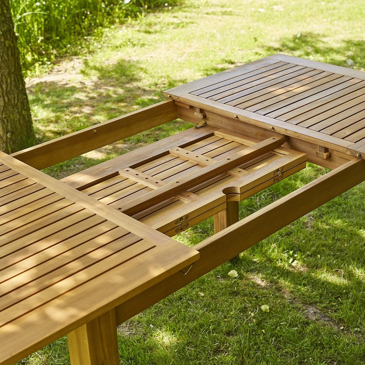 Salon de jardin en bois d\'acacia FSC gris rallonge 8/10 ...