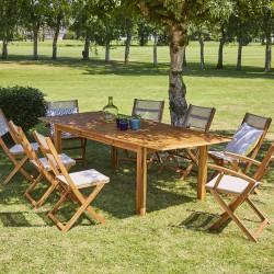 Salon de jardin en bois d\'acacia FSC gris rallonge 8/10 places HANOÏ