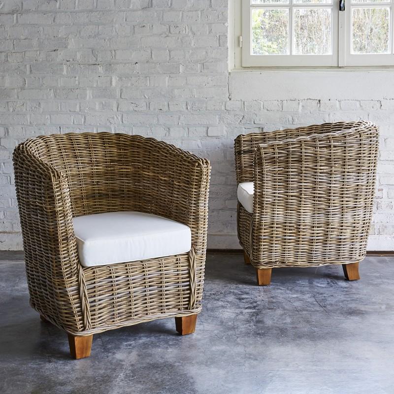 de MUSA 2 fauteuils naturel Lot Bois Dessous Dessus ronds kubu Bois en edxBCor