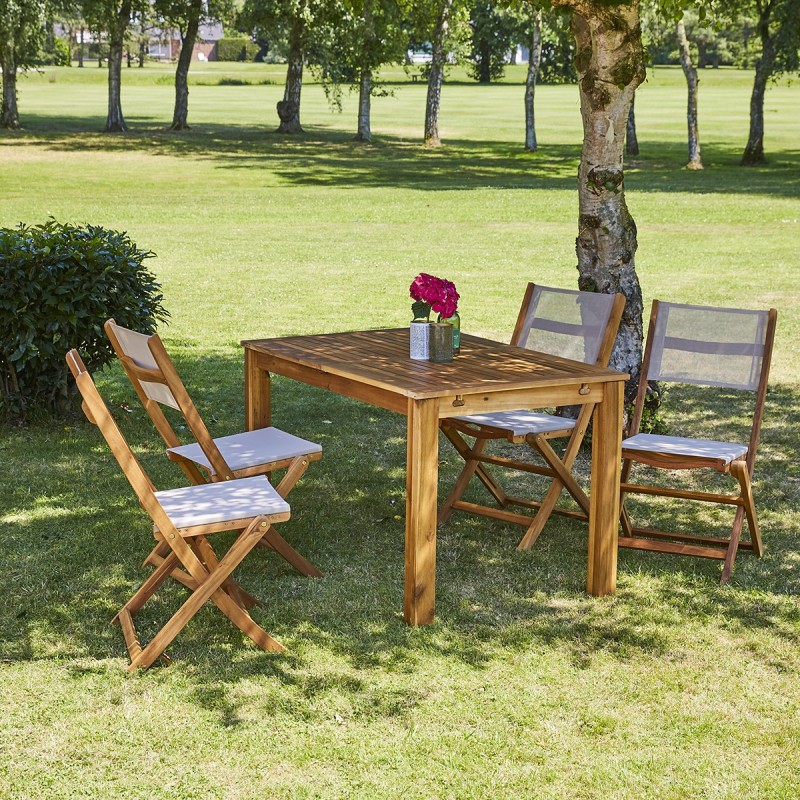 Salon de jardin en bois d\'acacia FSC extensible 4/8 places HANOÏ ...