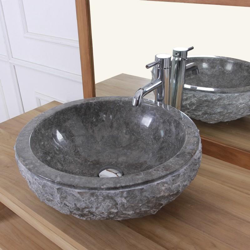 Vasque bol rude en pierre de marbre gris