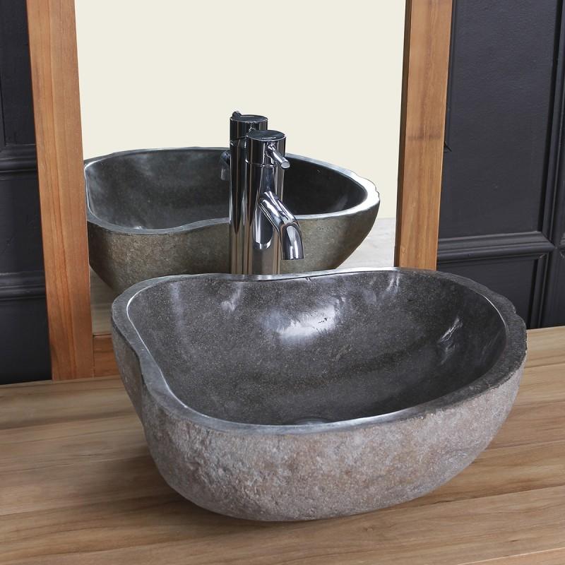 Vasque en pierre de rivière naturelle 40