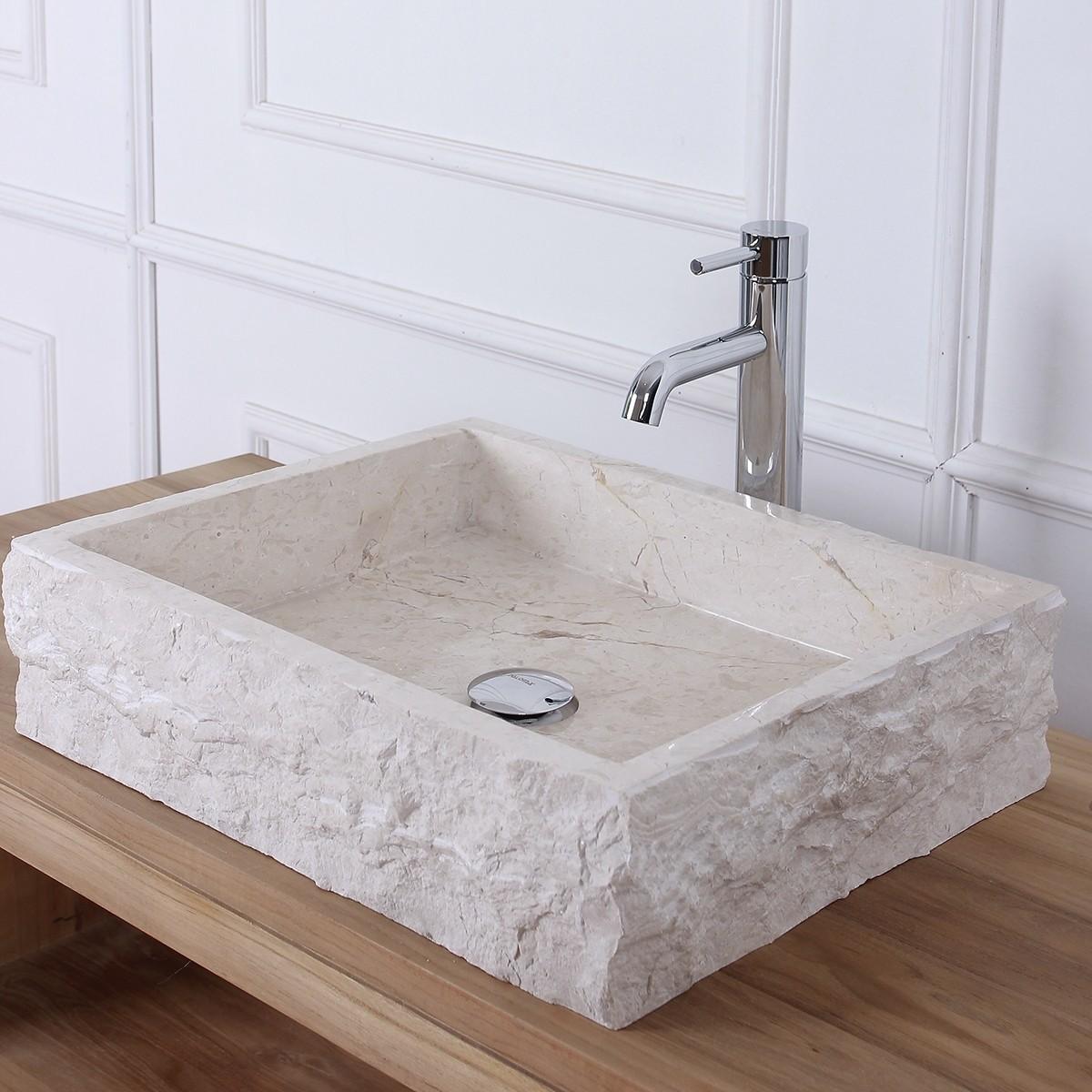 vasque rectangulaire en pierre de marbre blanc bois dessus bois dessous. Black Bedroom Furniture Sets. Home Design Ideas
