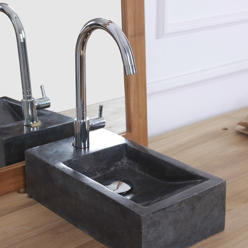 Mini vasque rectangulaire en pierre de marbre noir