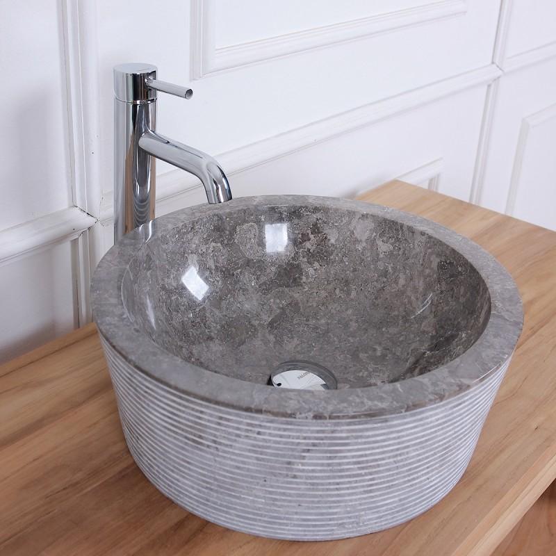 Vasque tambour en pierre de marbre gris