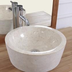 Vasque tambour en marbre blanc