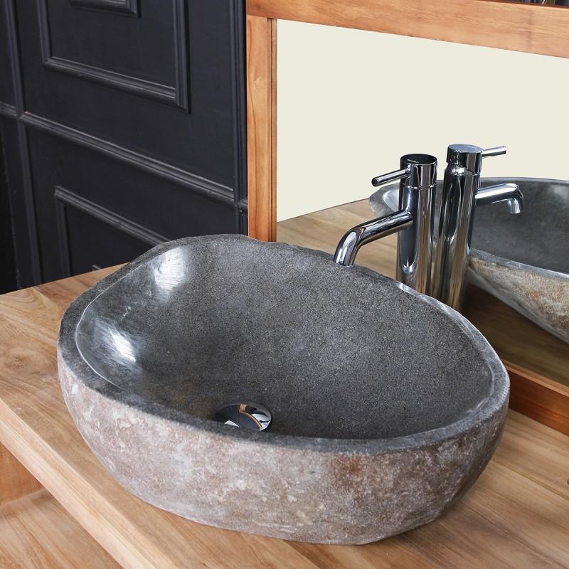 Vasque en pierre de rivière naturelle