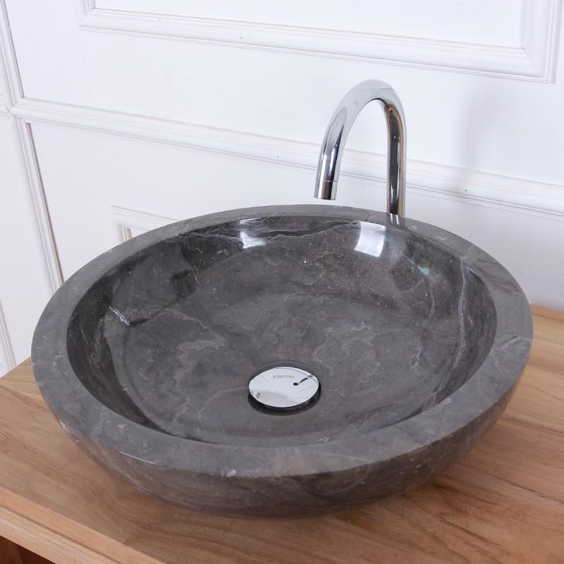 Vasque bol en pierre de marbre noir 40