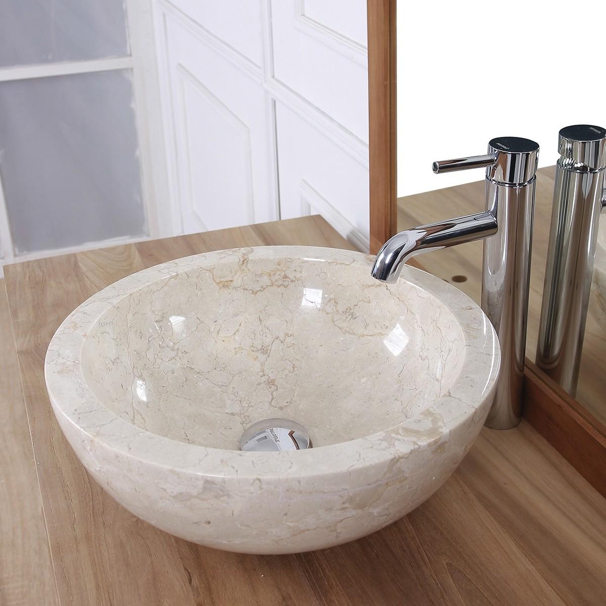 vasque boule en pierre de marbre blanc bois dessus bois dessous. Black Bedroom Furniture Sets. Home Design Ideas