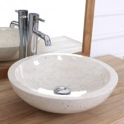 Vasque bol bas en pierre de marbre blanc