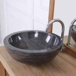 Vasque bol bas en pierre de marbre noir