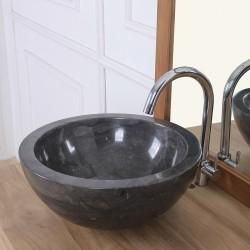 Vasque bol en pierre de marbre noir 35