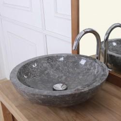 Vasque bol bas en pierre de marbre brun