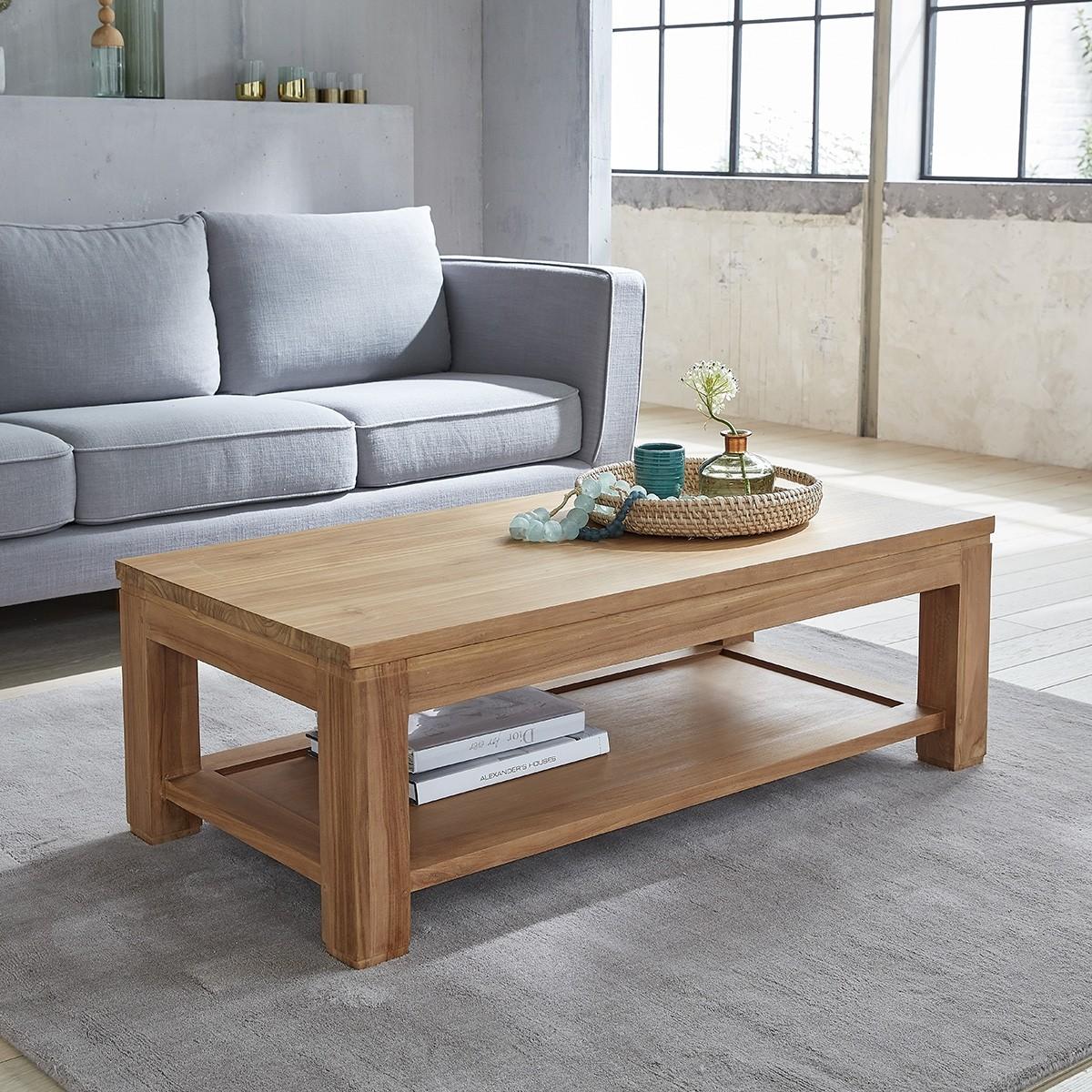 Table basse rectangulaire en teck brut 120 boston bois dessus bois dessous - Table de salon rectangulaire ...