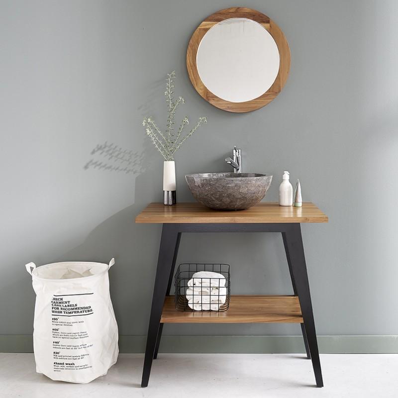 Ensemble de salle de bain en bois de teck 80 vasque miroir bois dessus bois dessous - Miroir teck salle de bain ...