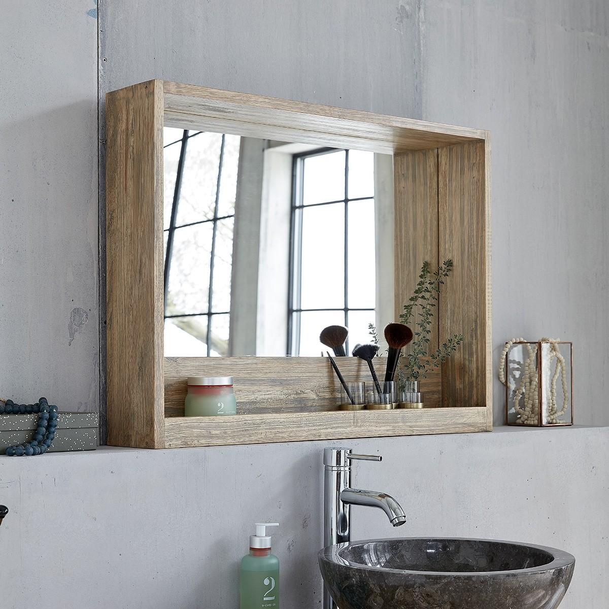 Ensemble salle de bain en bois d 39 h v a suspendu 80 - Hauteur d un miroir de salle de bain ...