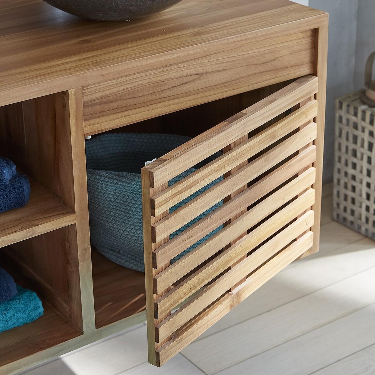 Ensemble salle de bain en bois de teck suspendu 160 vasques miroir bois dessus bois dessous - Miroir teck salle de bain ...