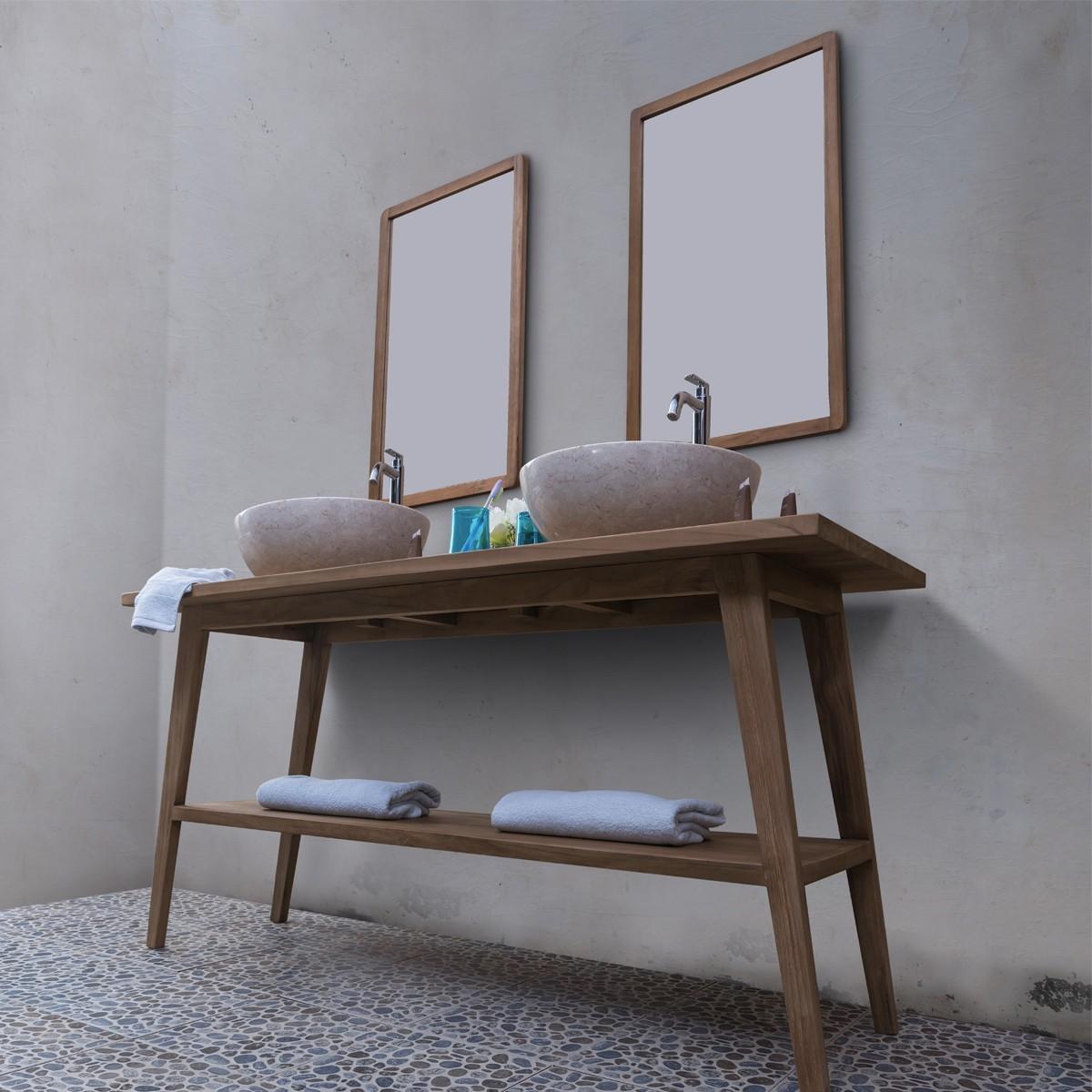 Ensemble salle de bain en bois de teck 150 vasques miroirs bois dessus bois dessous - Miroir salle de bain bois ...