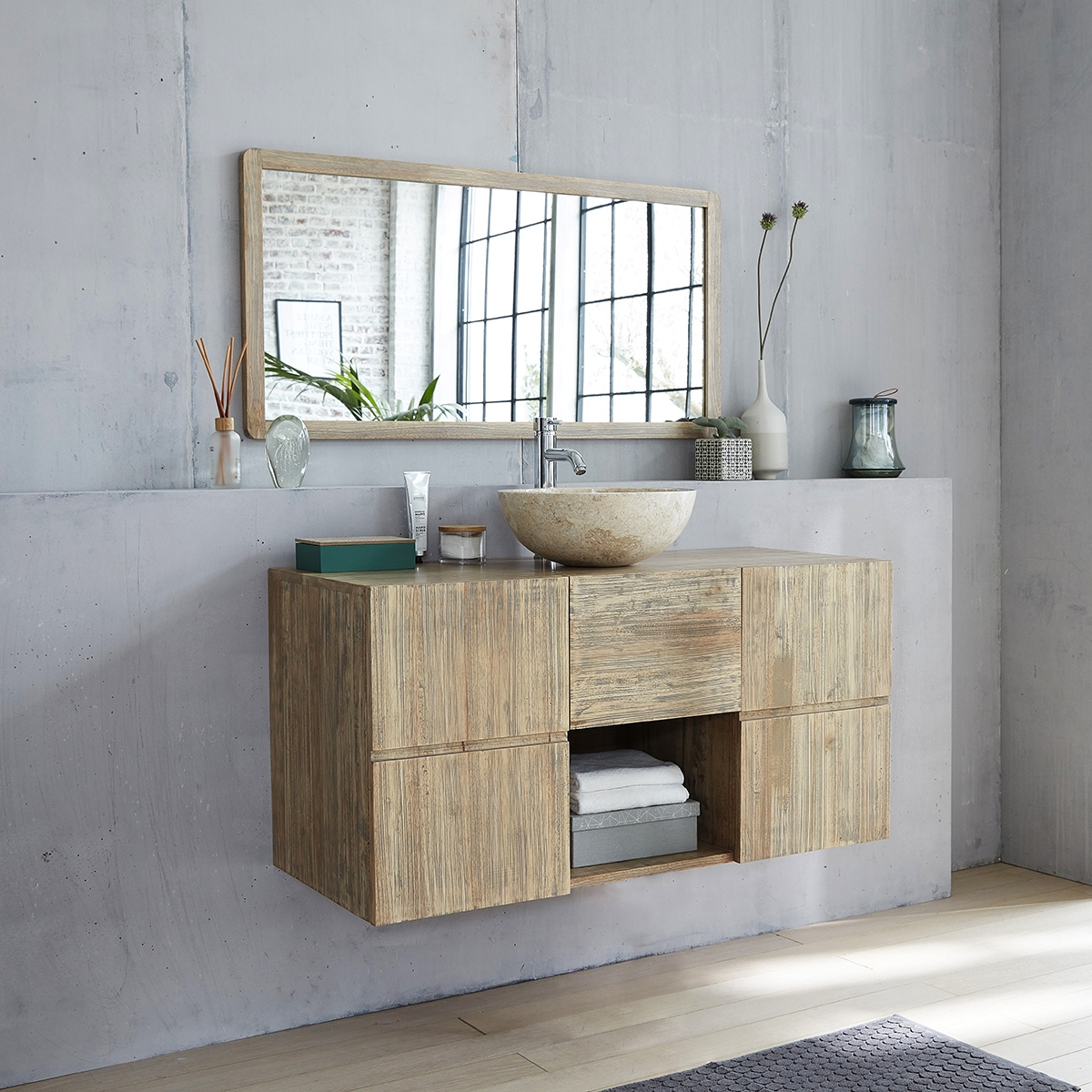 Miroir Salle De Bain 120 ensemble salle de bain en bois d'hévéa suspendu 120 - vasque