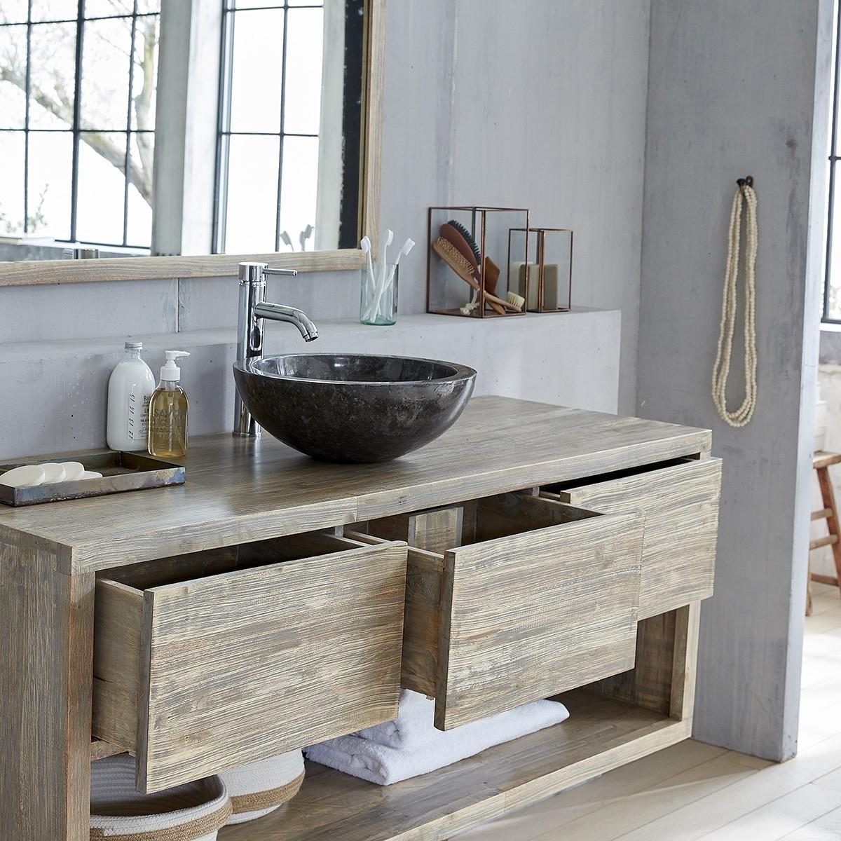 Ensemble salle de bain en bois d 39 h v a suspendu 150 vasque miroir bois dessus bois dessous - Ensemble salle de bain bois ...