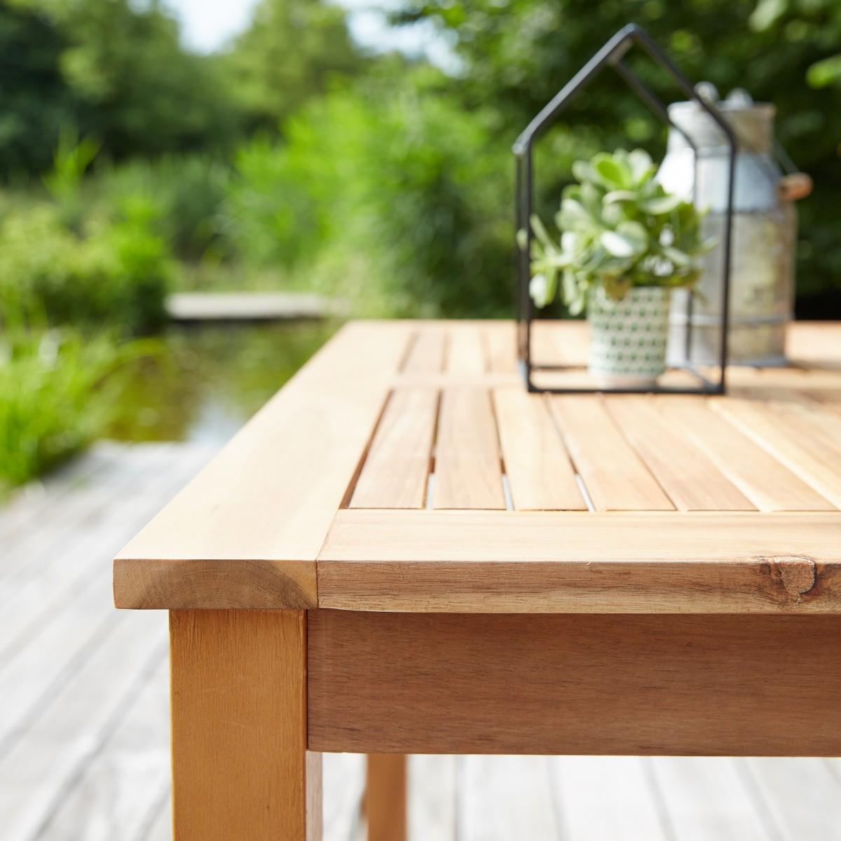 Salon de jardin carré en bois d\'acacia FSC noir 4 places ...