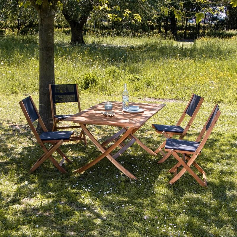 Salon de jardin en bois d\'acacia FSC noir 4 places HANOÏ | Bois ...
